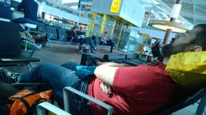 Rob catches a few Zzz during our 5 hour layover in Heathrow.