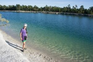 Amanda pondering a dip in the Blue Lagoon quarry