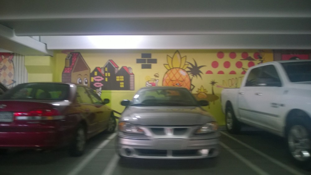 Art in the Z parking garage in Detroit. The nerve of folks blocking the art with their parked cars.