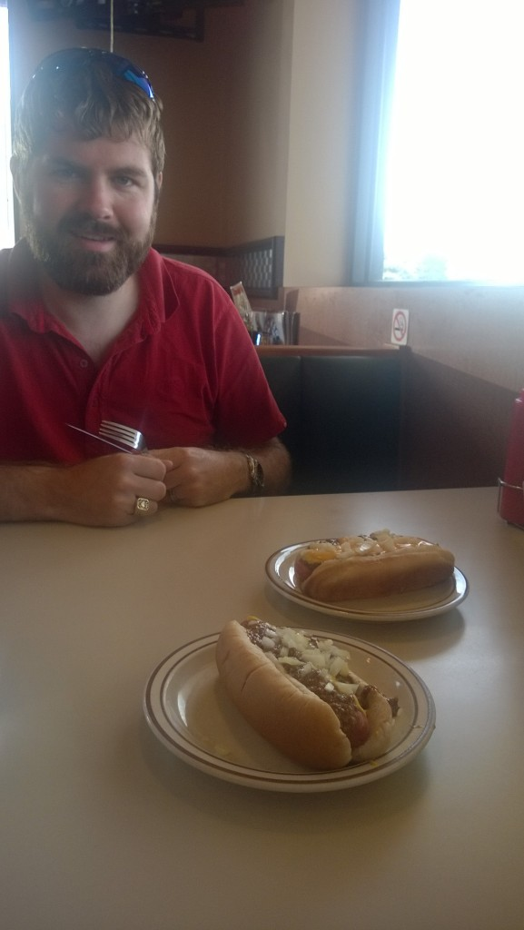 Getting coneys are Kerby's diner in Detroit.