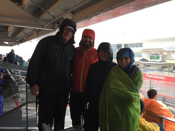 Cold and wet waiting/hoping quals will be held on Saturday. The bleacher design was terrible as water draining from the top level drained to the bottom level and was promptly blown on everyone sitting there.