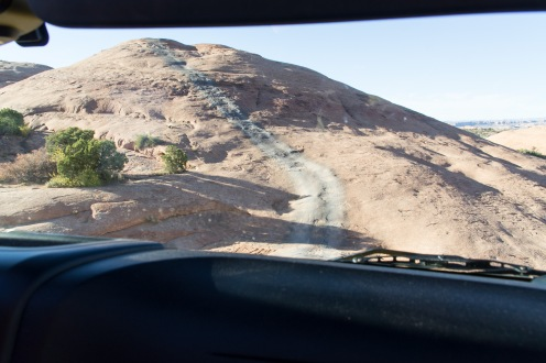 First obstacle of Hells Revenge - Driving straight up and down a rock fin.
