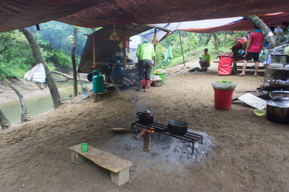 The cooking set up at camp.