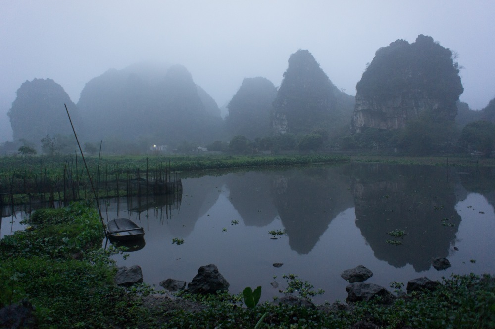 View from the road next to our lodging in Tam Coc.