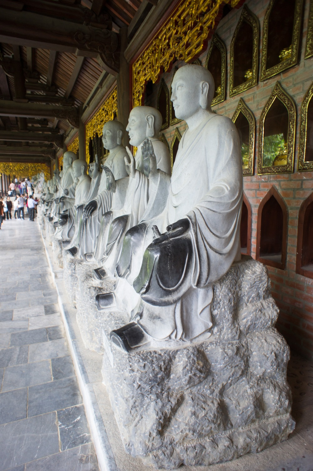 Hall of Buddhas at the Bich Dong Pagoda