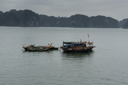 Approaching Halong Bay on the Tuan Chau Ferry