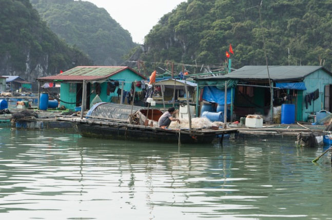 Man preparing nets in a floating village near Cat Ba Island.