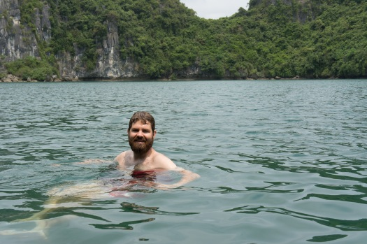 Rob went for a dip in the lagoon. Since the sun came out, it was actually quite warm.