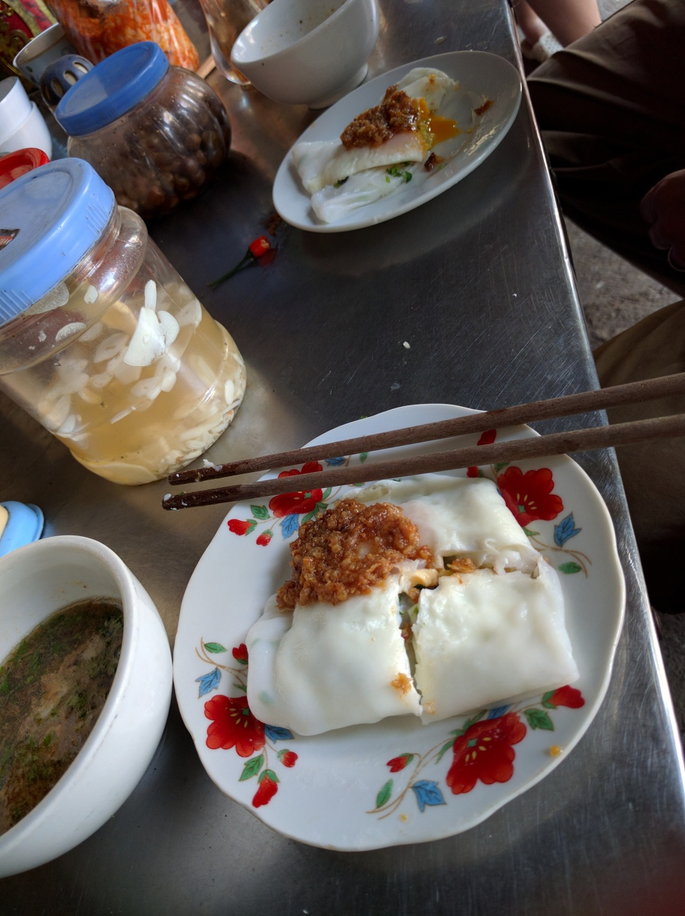 Ban Cuon - Rice Paper Crepes with pork inside