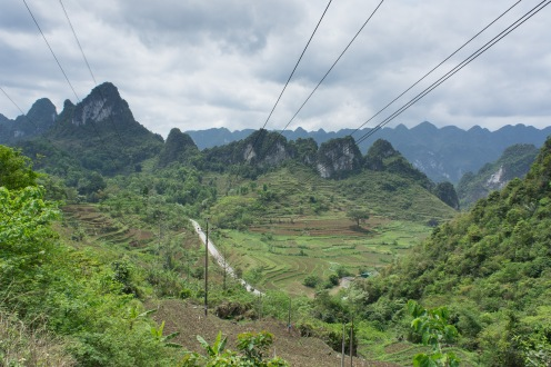 Heading toward the Ban Gioc Waterfall. Great view with power lines.d
