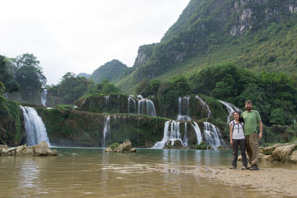 Us at the Ben Gioc Waterfall on the Chinese border